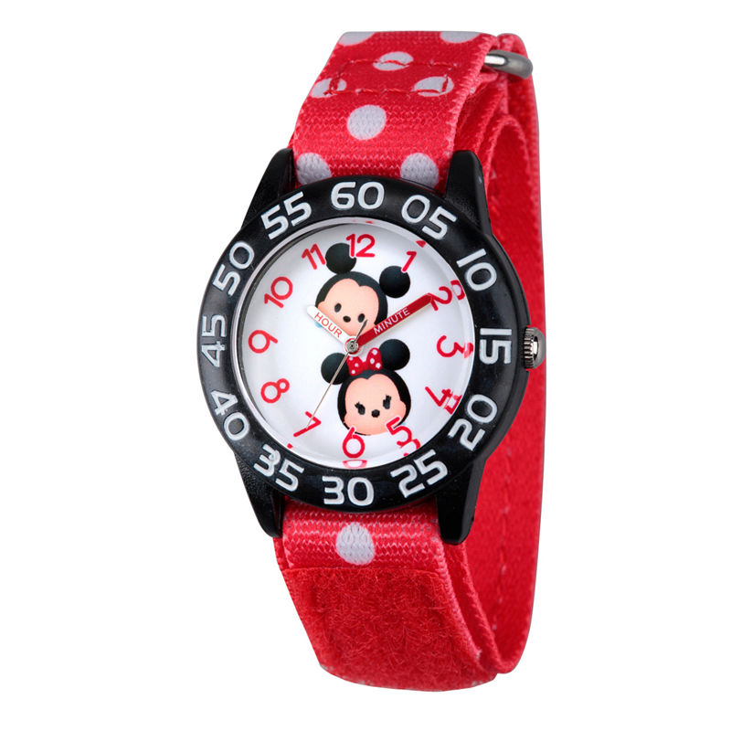 Disney Girls Mickey & Minnie Mouse Tsum Tsum Red And Black Polka Dot Time Teacher Strap Watch W003003