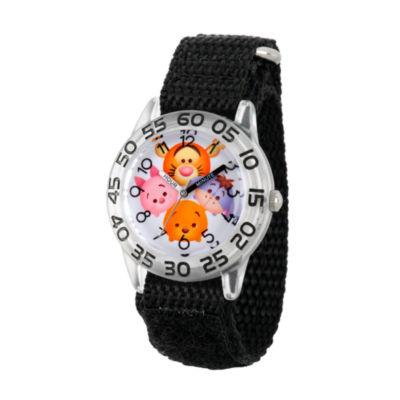 Disney Boys Pooh & Friends Tsum Tsum Black Time Teacher Strap Watch W003006