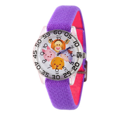 Disney Girls Pooh & Friends Tsum Tsum Purple And Silver Time Teacher Strap Watch W003007