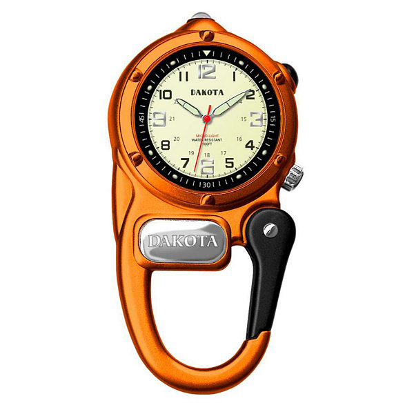 Dakota Mini-Clip Microlight Carabiner Pocket Watch, Orange