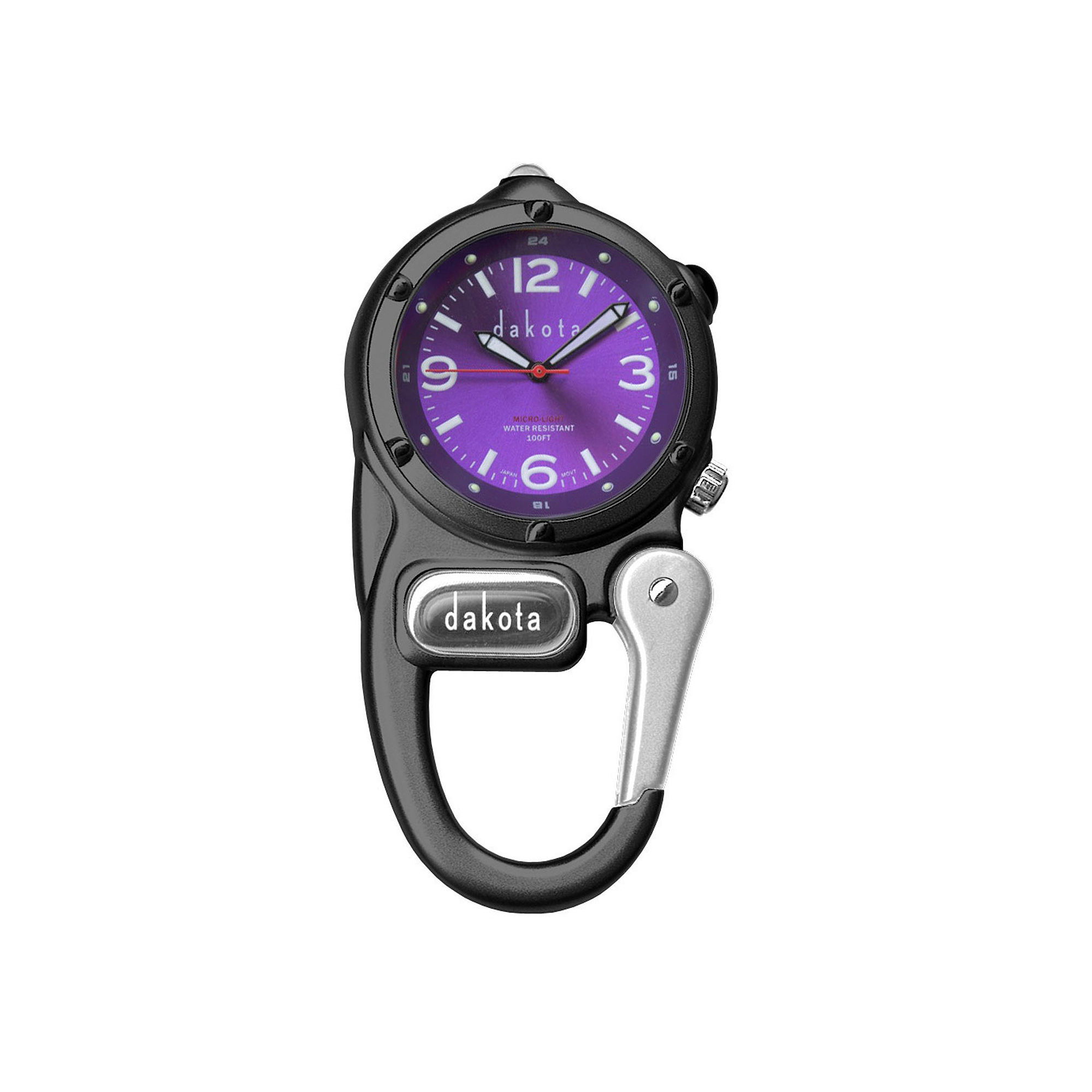Dakota Mini Clip Microlight Carabiner, Black and Purple Pocket Watch 38589