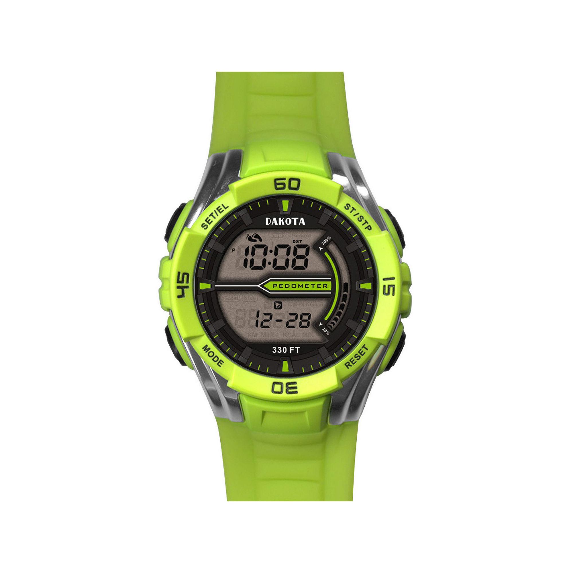 Dakota Lime Green Pedometer Watch 36827