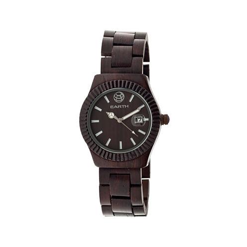 Earth Wood Pith Dark Brown Bracelet Watch With Date Ethew1802