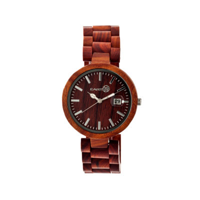 Earth Wood Stomates Red Bracelet Watch with Date ETHEW2203