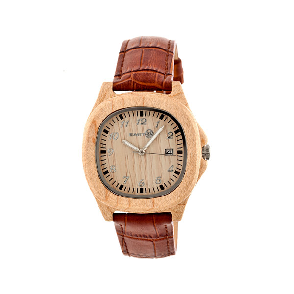 Earth Wood Sherwood Khaki Leather-Band Watch with Date ETHEW2701