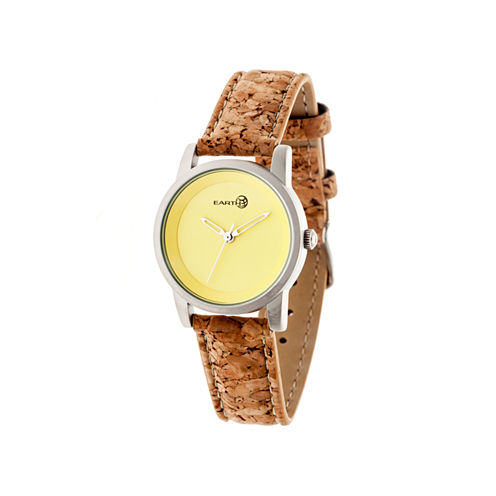 Earth Wood Canopies Yellow Dial Leather-Band Watch ETHEW2901