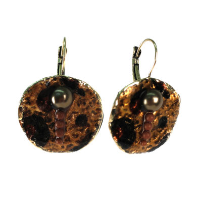 Aris by Treska Gold-Tone Disc Leverback Earrings