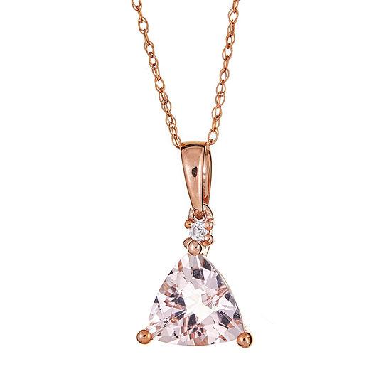 LIMITED QUANTITIES  Genuine Morganite & Diamond Accent 10K Rose Gold Pendant