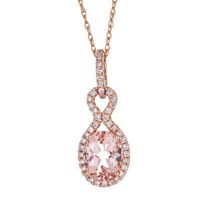 LIMITED QUANTITIES  Genuine Morganite &  Diamond 10K Rose Gold Pendant