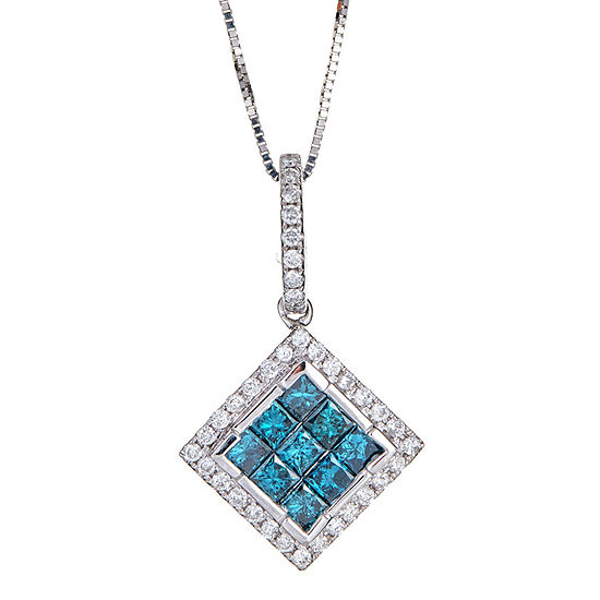 LIMITED QUANTITIES  1 CT T.W. Color-Enhanced Blue & White Diamond 14K White Gold Pendant