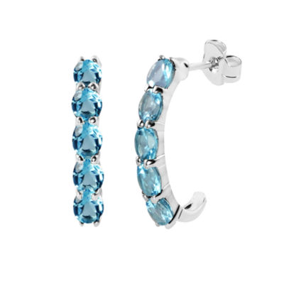 Genuine Blue Topaz Sterling Silver J-Hoop Earrings