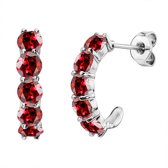 Genuine Garnet Sterling Silver J-Hoop Earrings