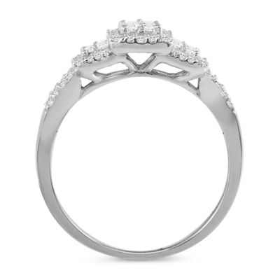 3/8 CT. T.W. Diamond 10K White Gold  Vintage Inspired Engagement Ring