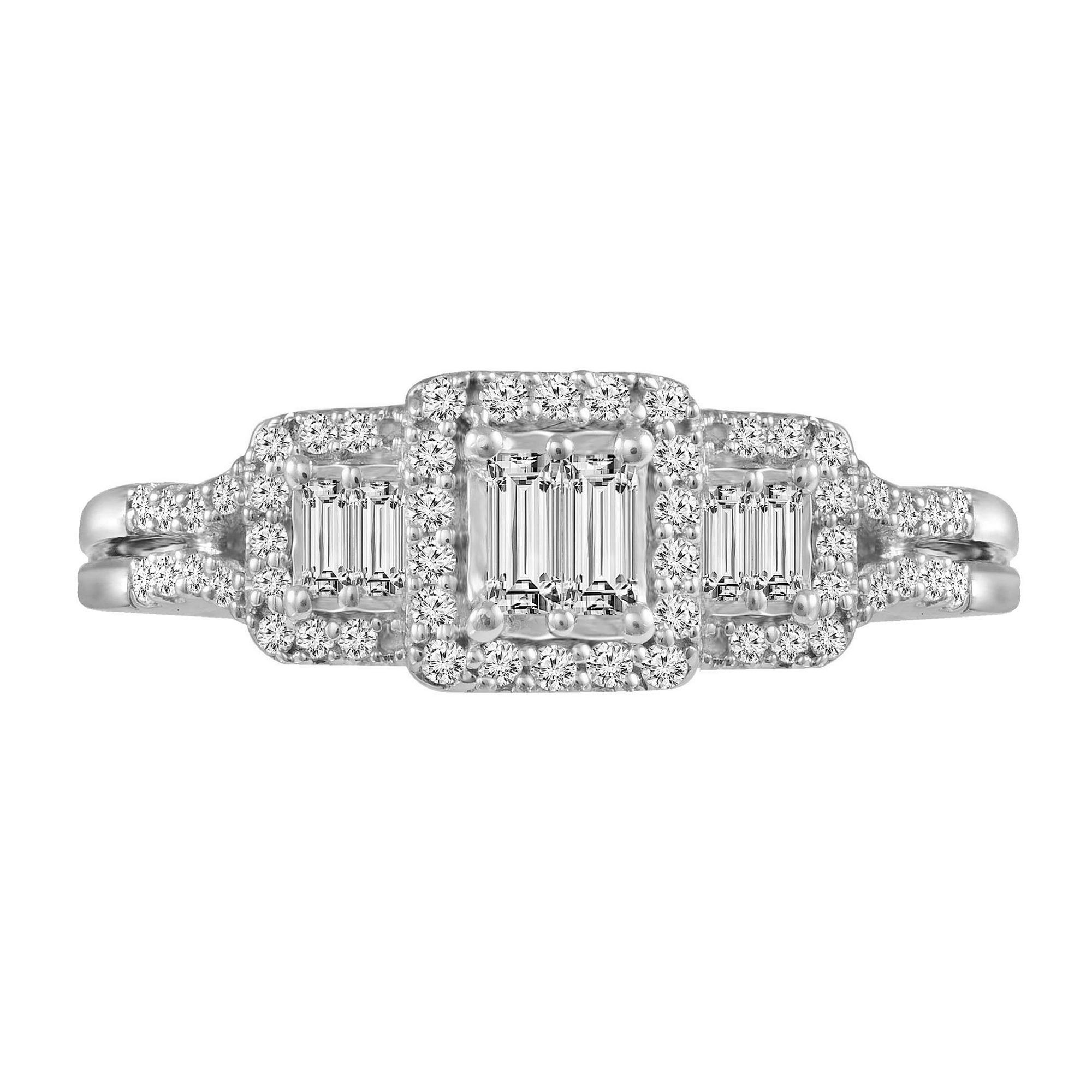 3/8 CT. T.W. Diamond 10K White Gold Vintage Inspired Engagement Ring