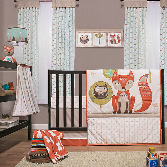 Little Haven 4-pc.  Clever Fox Crib Bedding Set