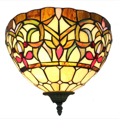 Amora Lighting™ Tiffany Style Floral Scalloped Wall Sconce