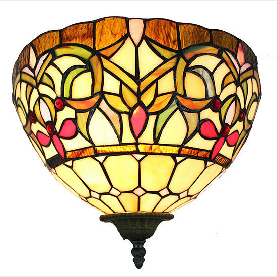 Amora Lighting Tiffany Style Floral Scalloped Wall Sconce