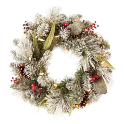 "North Pole Trading Co. Winter Lodge 24"" Denver Pre-Lit Indoor Christmas Wreath"
