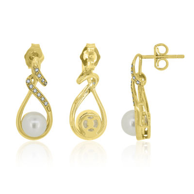 Cultured Freshwater Pearl & Lab-Created White Sapphire 14K Gold Over Silver Drop Earrings