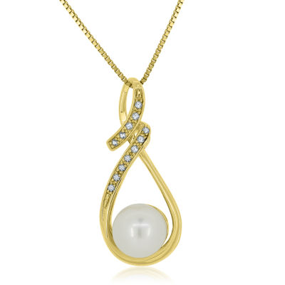 Cultured Freshwater Pearl & Lab-Created White Sapphire 14K Gold Over Silver Pendant Necklace