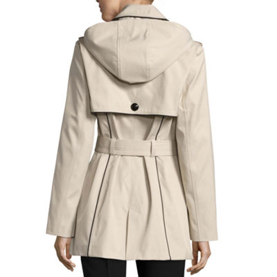 Worthington Twill Hooded Lightweight Trench Coat