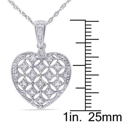 Womens 1/7 CT. T.W. Genuine White Diamond 14K Gold Heart Pendant Necklace