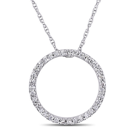 Womens 1/8 CT. T.W. Genuine White Diamond 10K Gold Round Pendant Necklace