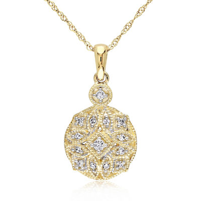 Womens 1/8 CT. T.W. Genuine White Diamond 14K Gold Round Pendant Necklace
