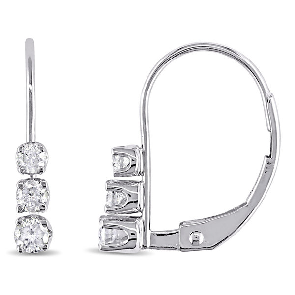 1/4 CT. T.W. White Diamond 14K Gold Hoop Earrings