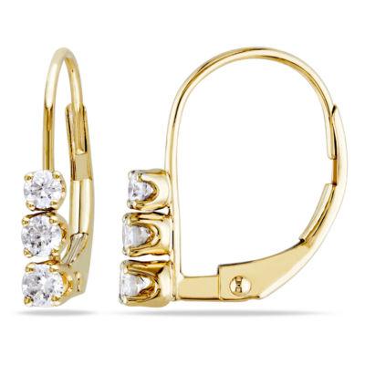 1/4 CT. T.W. GENUINE White Diamond 14K Gold 14.4mm Hoop Earrings