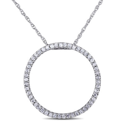 Womens 1/4 CT. T.W. Genuine White Diamond 10K Gold Round Pendant Necklace
