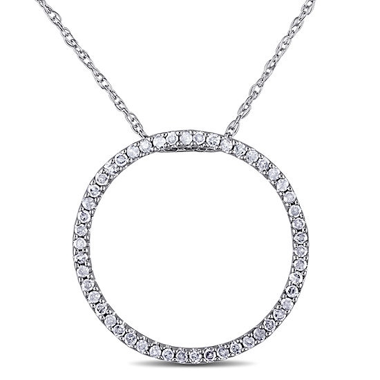 Womens 1 4 Ct Tw Genuine White Diamond 10k Gold Round Pendant Necklace