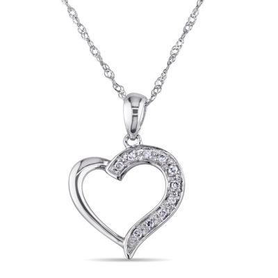 Womens Diamond Accent White Diamond 14K Gold Pendant Necklace