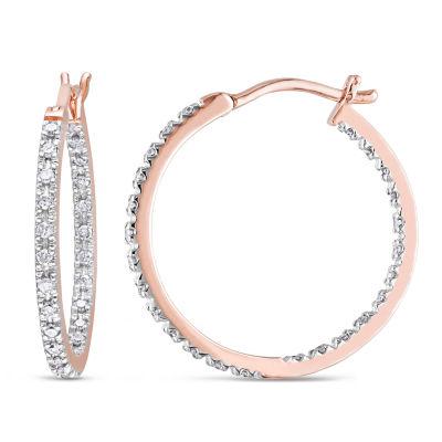 1/4 CT. T.W. Genuine White Diamond 10K Gold 19.8mm Hoop Earrings