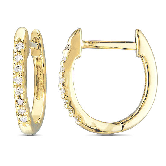 1/10 CT. T.W. Genuine White Diamond 10K Gold 12.1mm Hoop Earrings