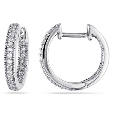 1/4 CT. T.W. GENUINE White Diamond 14K Gold 13.9mm Hoop Earrings