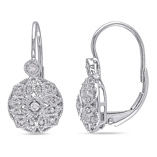 1/8 CT. T.W. Genuine White Diamond 14K Gold Drop Earrings