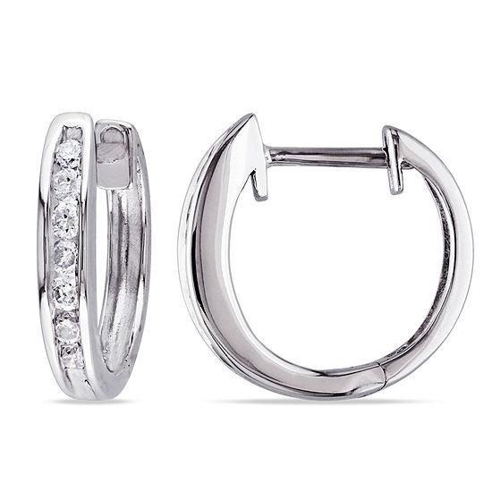 1/4 CT. T.W. Genuine White Diamond 10K Gold 13.1mm Hoop Earrings