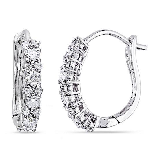 1/2 CT. T.W. Genuine White Diamond 14K Gold 14mm Hoop Earrings