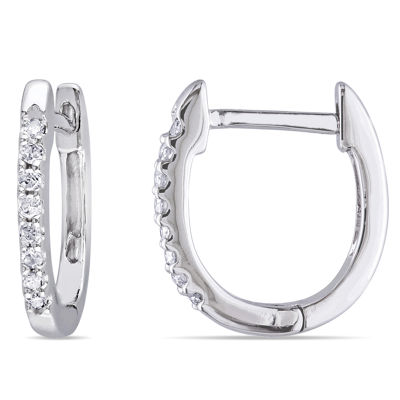 1/10 CT. T.W. Genuine White Diamond 10K Gold 12.7mm Hoop Earrings