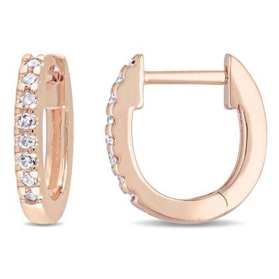 1/10 CT. T.W. GENUINE White Diamond 10K GOLD 11.8mm Hoop Earrings