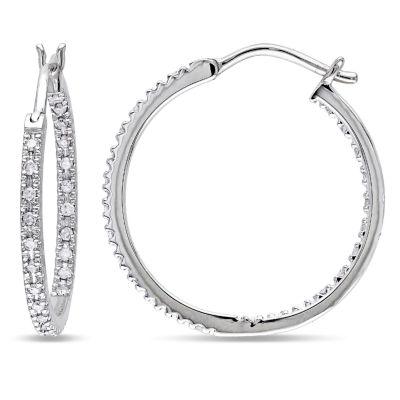 1/4 CT. T.W. GENUINE White Diamond 10K GOLD 20mm Hoop Earrings