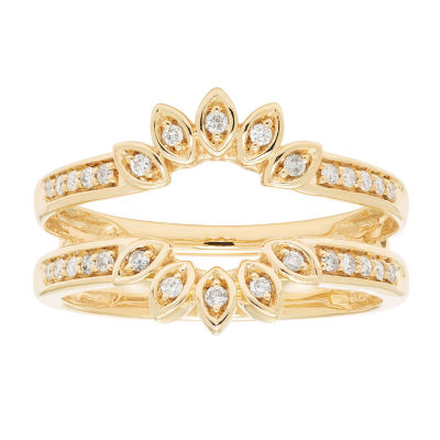 Womens 1/5 CT. T.W. Genuine White Diamond 14K Gold Ring Enhancer