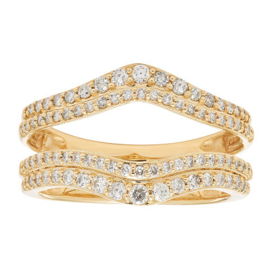 Womens 5/8 CT. T.W. Genuine White Diamond 14K Gold Ring Enhancer