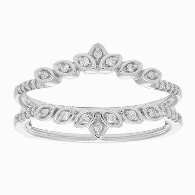 Womens 1/6 CT. T.W. Genuine White Diamond 14K Gold Ring Enhancer