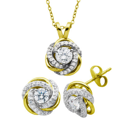 Diamonart 1 1/3 CT. T.W. Cubic Zirconia 18K Gold Over Silver Jewelry Set