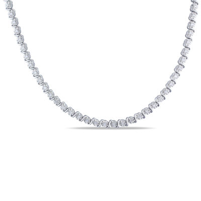 Womens 1/2 CT. T.W. Genuine White Diamond Tennis Necklaces
