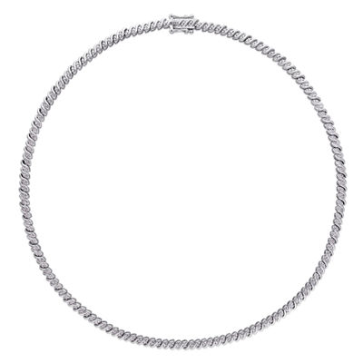 Womens 1 CT. T.W. Genuine White Diamond Sterling Silver Tennis Necklaces