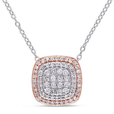 Womens 1/2 CT. T.W. Genuine White Diamond Sterling Silver Pendant Necklace