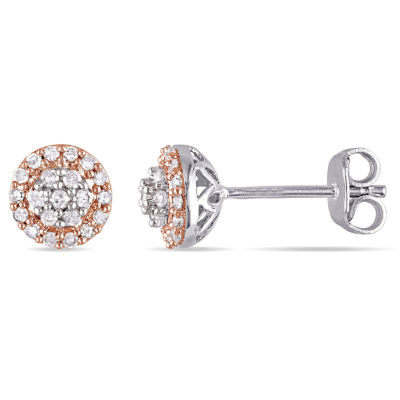 1/4 CT. T.W. Round White Diamond Sterling Silver Stud Earrings